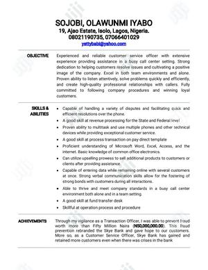 Customer Service CV | Customer Service CVs for sale in Lagos State, Isolo