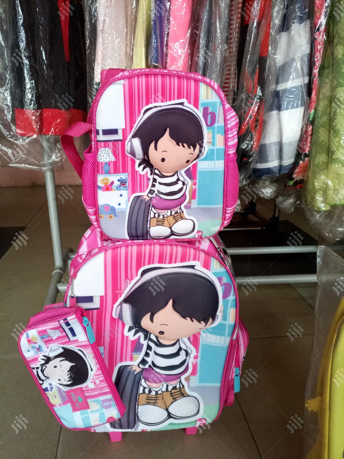 3 In 1 UK Children Cartoon Character Trolley School Bag