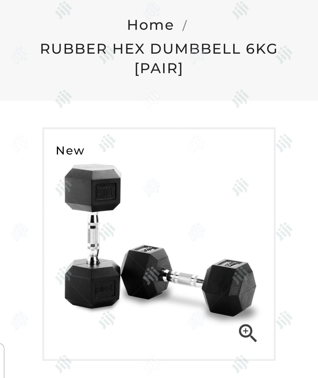 Rubber Hex Dumbbell 6kg [Pair]