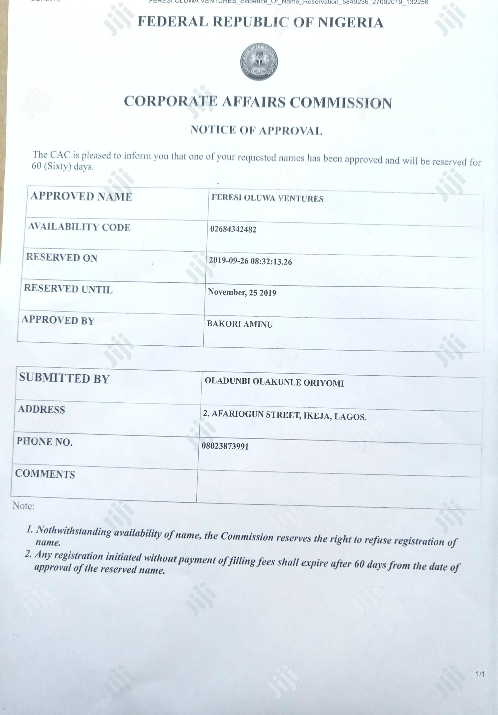 Archive: Company /Business Name Registration With TIN to Open Accoun