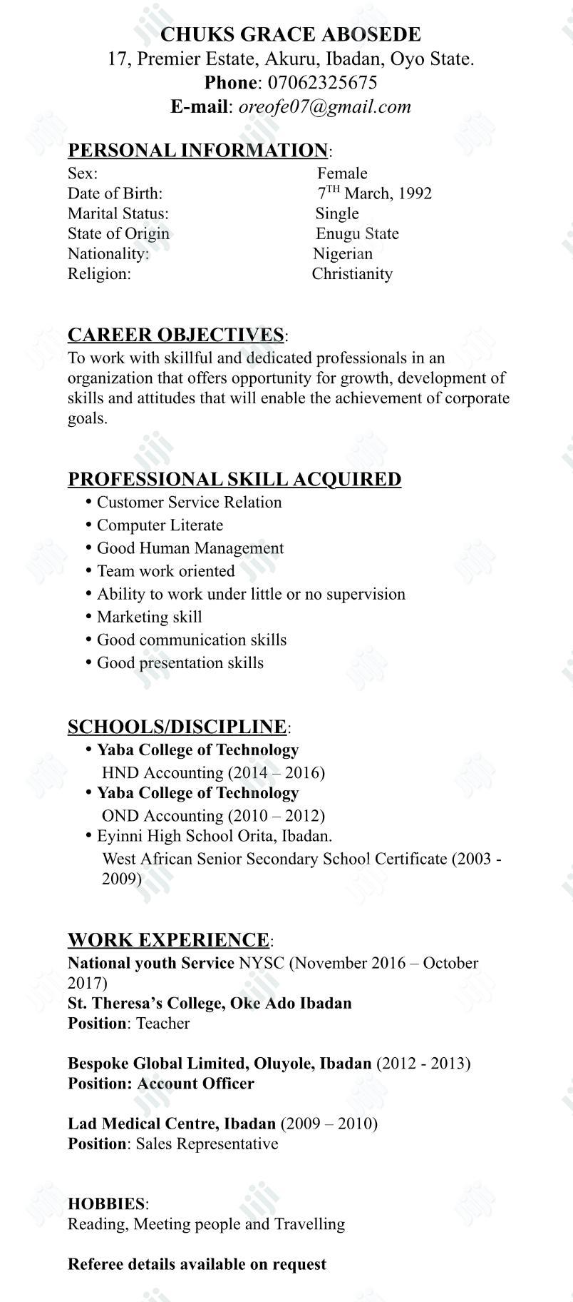 Accounting & Finance CV