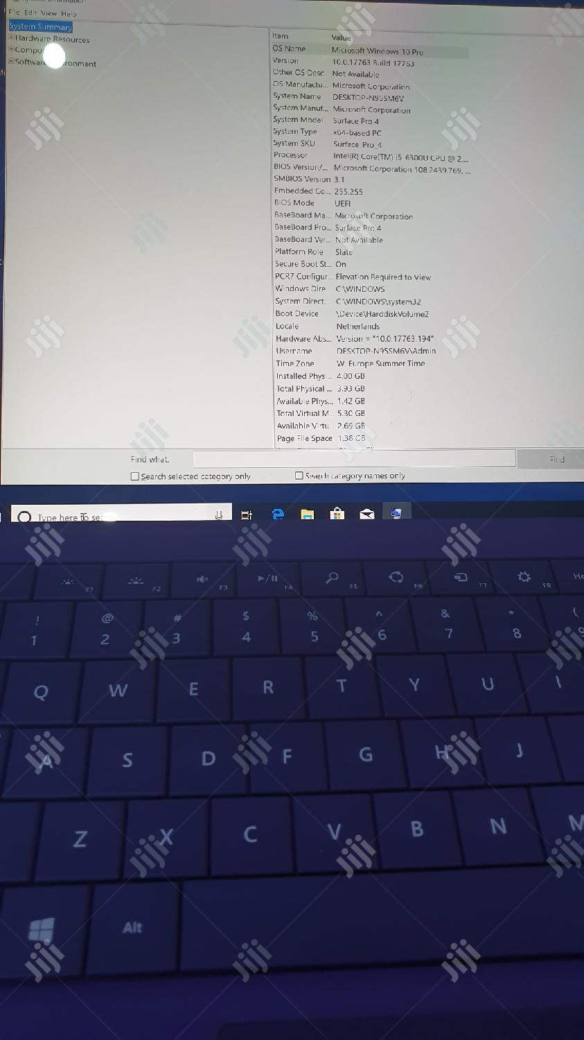 Laptop Microsoft Surface Pro 4 8GB Intel Core i5 SSD 256GB   Laptops & Computers for sale in Wuse 2, Abuja (FCT) State, Nigeria
