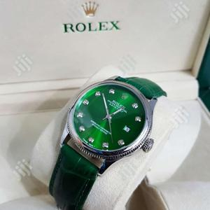 Rolex Oyster Perpetual Silver Green Leather Strap Watch   Watches for sale in Lagos State, Lagos Island (Eko)