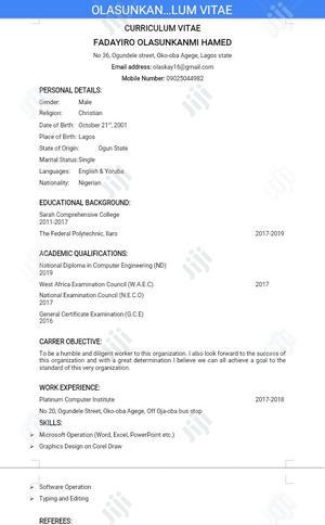 Junior Recruitment Consultant - IT | Computing & IT CVs for sale in Lagos State, Ikeja