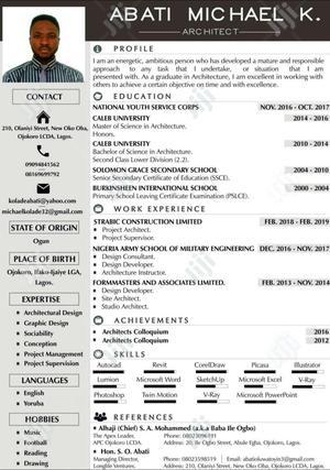 Engineering & Architecture CV | Engineering & Architecture CVs for sale in Lagos State, Ifako-Ijaiye