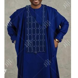 Men Long Sleeve Agbada-Blue With Matching Embroidery | Clothing for sale in Lagos State, Ojodu