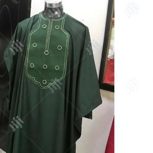 Men Short Sleeve Agbada-Green With Matching Embroidery   Clothing for sale in Lagos State, Ojodu