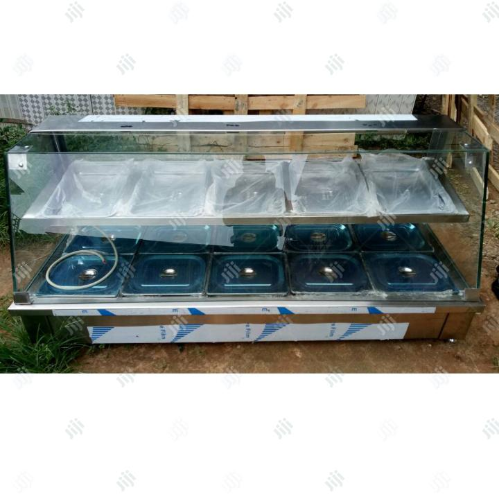 5 Plates Food Warmer With Layer, Door and Top Glass