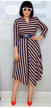 Unique Ladies Stripe Belted Dress | Clothing for sale in Lagos State, Magodo