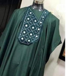 Men Short Sleeve Agbada-Green With Embroidery   Clothing for sale in Lagos State, Ojodu