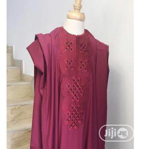 Men Short Sleeve Agbada-Wine With Exquisite Embroidery   Clothing for sale in Lagos State, Ojodu