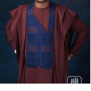 Men Long Sleeve Agbada-Wine With Exquisite Embroidery   Clothing for sale in Lagos State, Ojodu