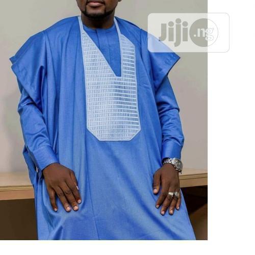 Men Long Sleeve Agbada Native-Sky Blue