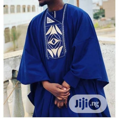 Men Long Sleeve Agbada Native-Royal Blue