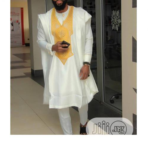 Men Agbada Native With Exquisite Gold Embroidery