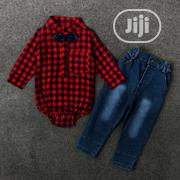Boy Jeans Plaid Shirt 2pc Set   Children's Clothing for sale in Ondo State, Akure