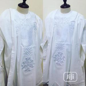 Men Agbada Native- White With Matching Embroidery | Clothing for sale in Lagos State, Ojodu