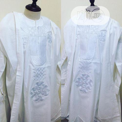 Men Agbada Native- White With Matching Embroidery