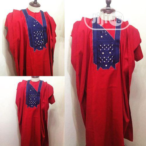 Men Agbada Native- Red With Embroidery