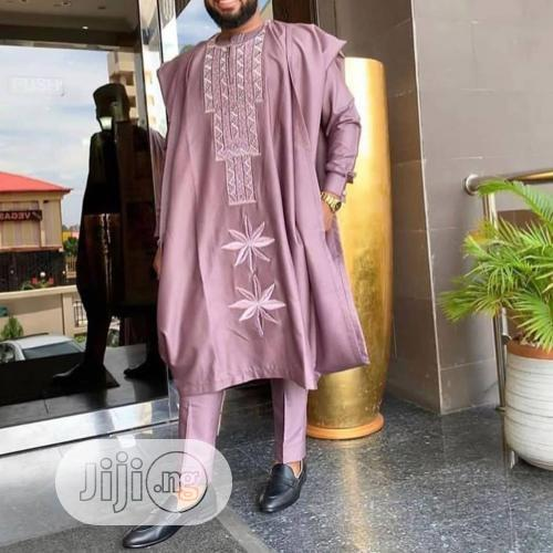 Men Agbada Native With Matching Embroidery
