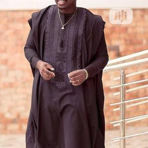 Men Agbada Native-black With Black Embroidery | Clothing for sale in Lagos State, Ojodu