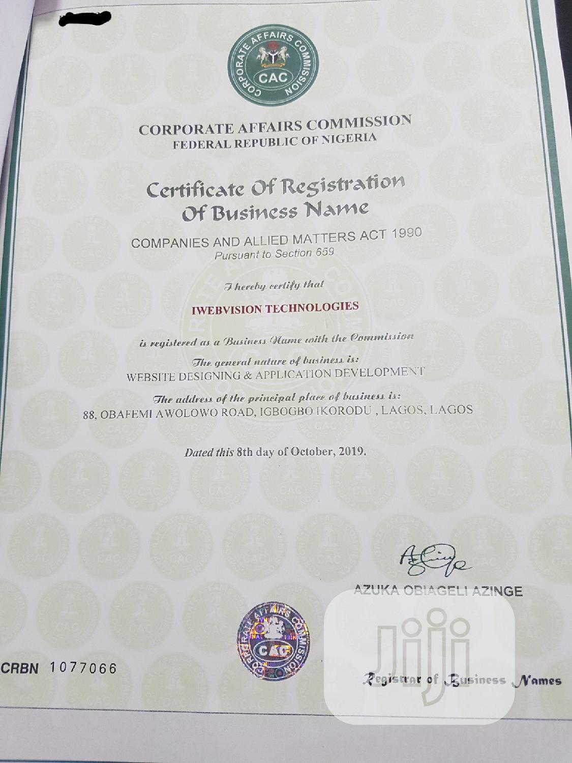 Cac- Business Name Registration