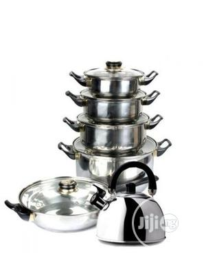 Syainless Pot And Pan Set With Kettle   Kitchen & Dining for sale in Lagos State, Lagos Island (Eko)
