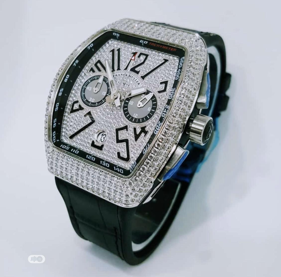 Archive: New Franck Muller Black Leather Wristwatch / Wrist Watch