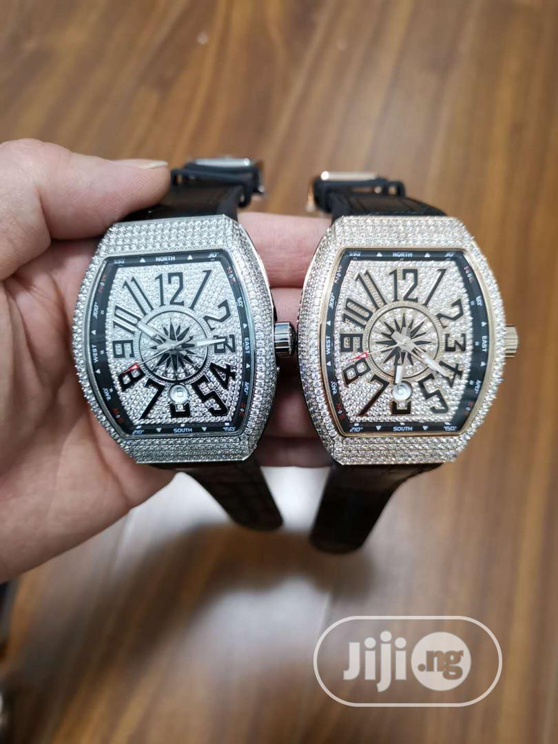 Franck Muller Full Ice Leather Strap Watch