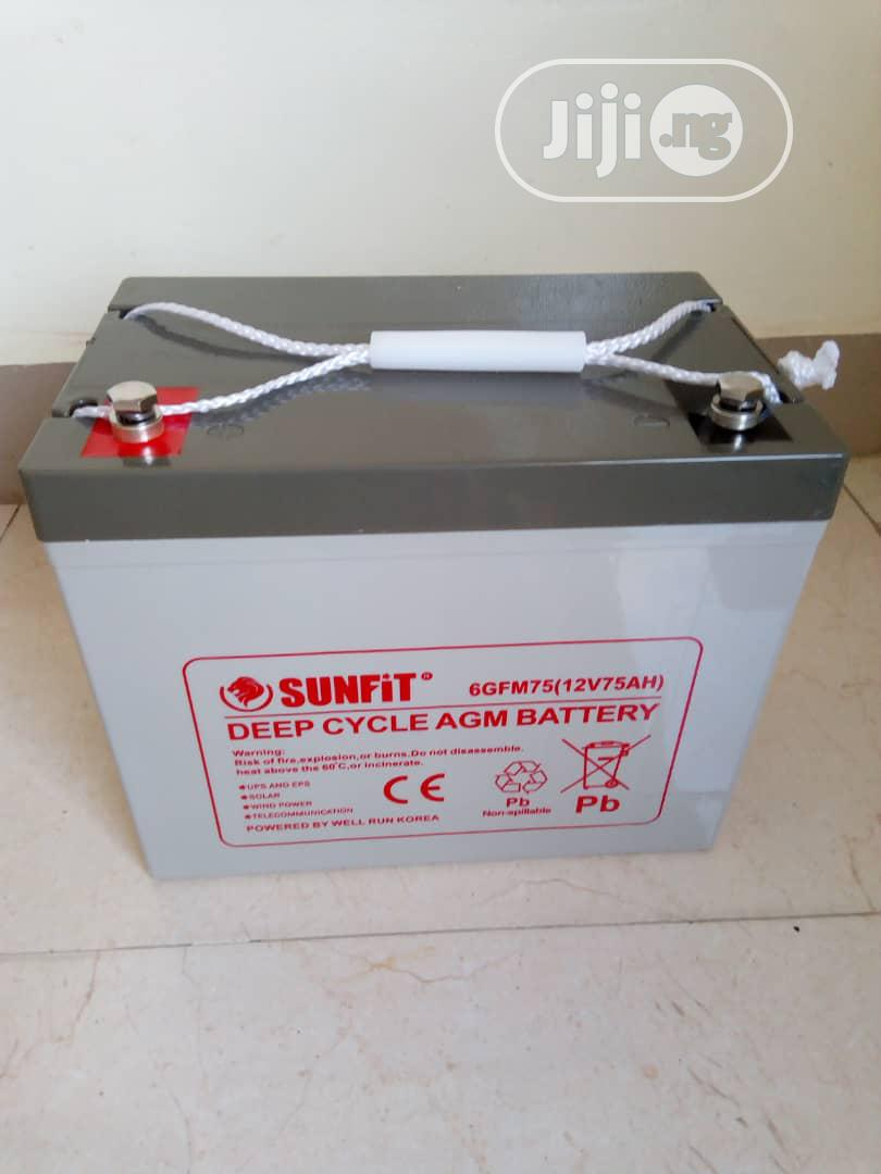 Sunfit Deep Cycle Battery 12v75ah | Solar Energy for sale in Ikeja, Lagos State, Nigeria