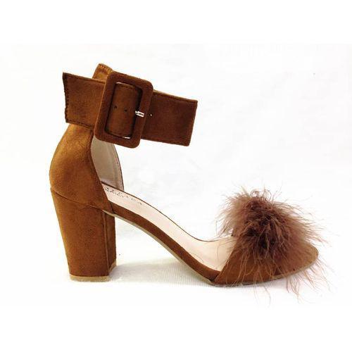 Archive: Alpaca Block Heel Sandal - Brown With Fur