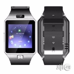 DZ09 Smart Sim Phone Watch - Silver Black | Smart Watches & Trackers for sale in Lagos State, Ojo