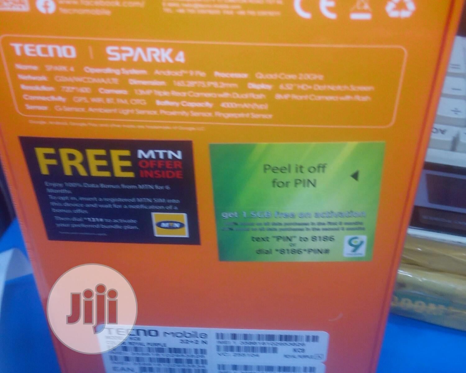 New Tecno Spark 4 32 GB | Mobile Phones for sale in Ikeja, Lagos State, Nigeria