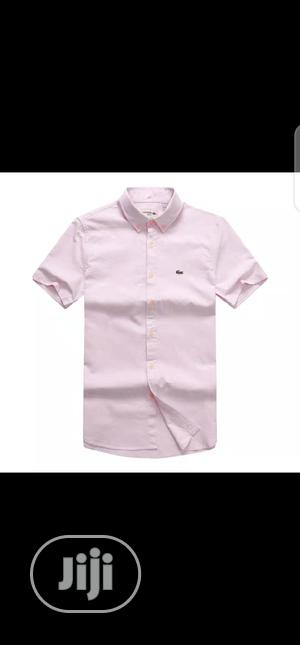 Lacoste Plain Packet Shirt Short Sleeve Original | Clothing for sale in Lagos State, Surulere