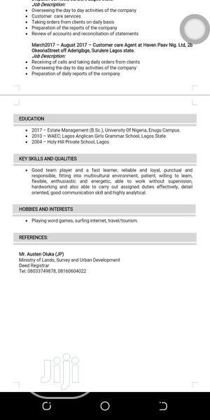 Customer Service CV   Customer Service CVs for sale in Lagos State, Surulere