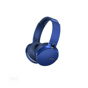 Sony Extra Bass Bluetooth Headphone Subwoofer Headset Blue   Headphones for sale in Lagos State, Ikeja