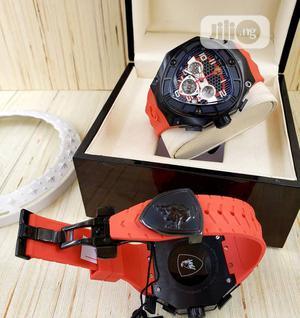 Lamborghini Chronograph Red Rubber Strap Watch | Watches for sale in Lagos State, Lagos Island (Eko)