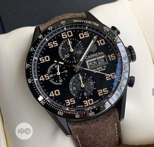 Tag Heuer Chronograph Black Head Brown Leather Strap Watch   Watches for sale in Lagos State, Lagos Island (Eko)