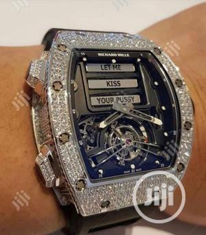 Richard Mille Silver Full Ice Digital/Analog Rubber Strap Watch | Watches for sale in Lagos State, Lagos Island (Eko)