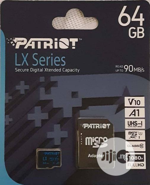 Micro SD 64gb Patriot Brand With Micro SDHC / Micro SDXC Adapter | Accessories for Mobile Phones & Tablets for sale in Enugu, Enugu State, Nigeria
