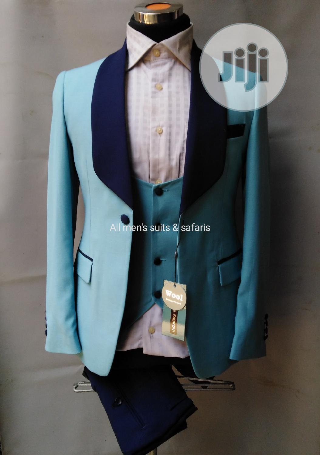Sky Blue 3pieces Tuxedo | Clothing for sale in Lagos Island, Lagos State, Nigeria