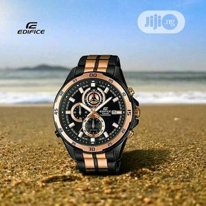 Edifice Casio Chronograph Rose Gold/Black Chain Watch | Watches for sale in Lagos State, Lagos Island (Eko)
