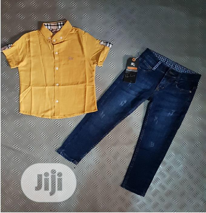 Turkey Boys Burberry Top and Jeans - 1-10yrs - Yellow | Children's Clothing for sale in Isolo, Lagos State, Nigeria