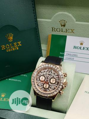 Rolex Daytona Chronograph Ice Head Rose Gold Leather Strap Watch   Watches for sale in Lagos State, Lagos Island (Eko)