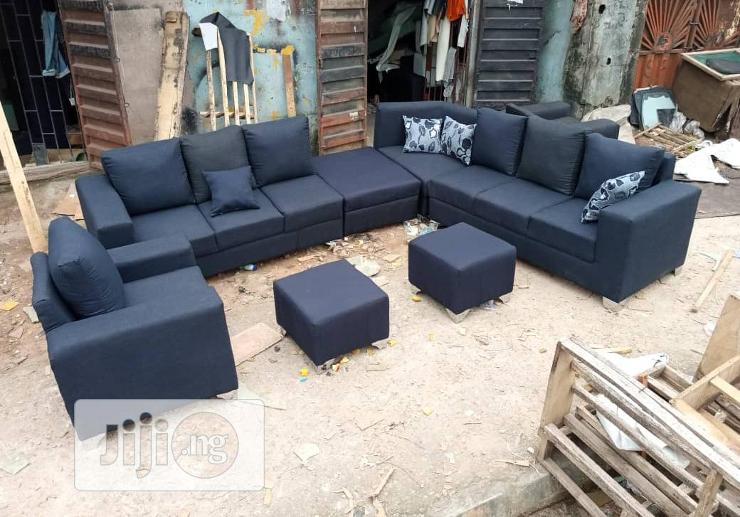 Original Leather L Shape Sofas With Quality Design | Furniture for sale in Lagos State, Nigeria