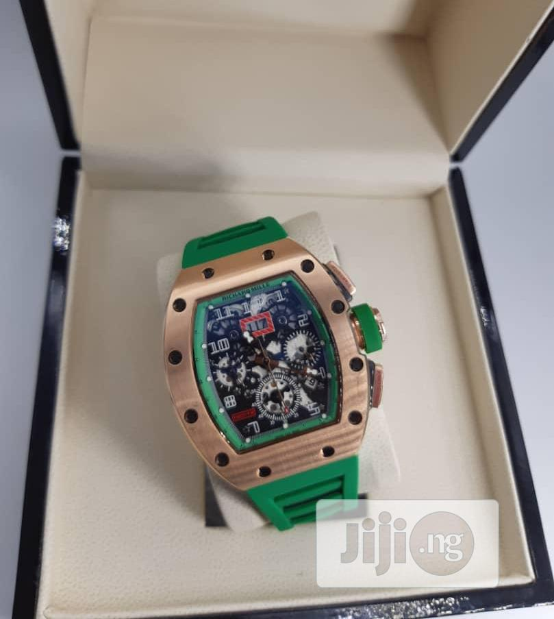 Richard Mille Chronograph Rose Gold Green Rubber Strap Watch