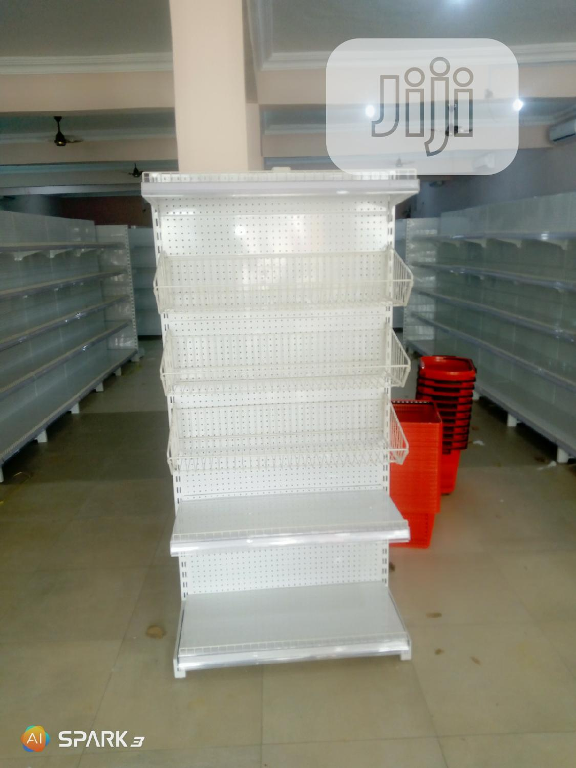 Single Sided Supermarket Display Shelving With 4 Layers