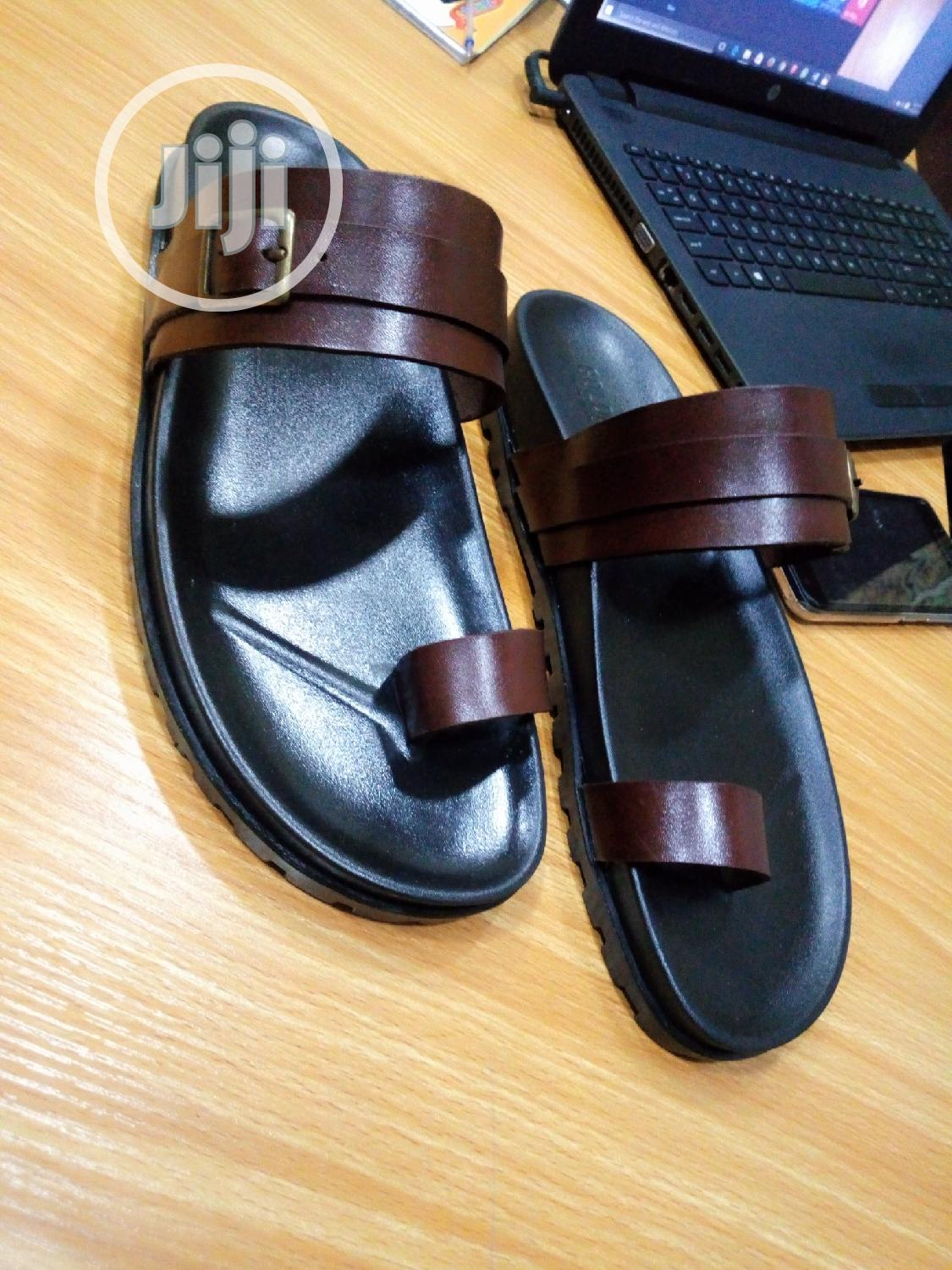 1st Class Brown Leather Palm, Slip On, Slippers, Sandals