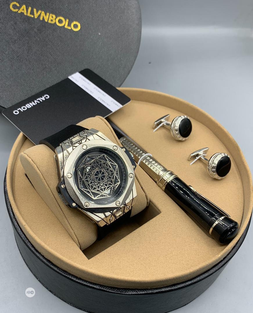 CALVNBOLO Leather Watch/ Pen /And Cufflinks