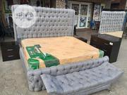 Fabric Bed Frame Wt Imported Orthopedic Spring Mattress,Kings Size | Furniture for sale in Lagos State, Ojo